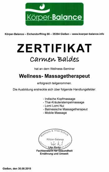 Zertifikat - Wellness-Massagetherapeut